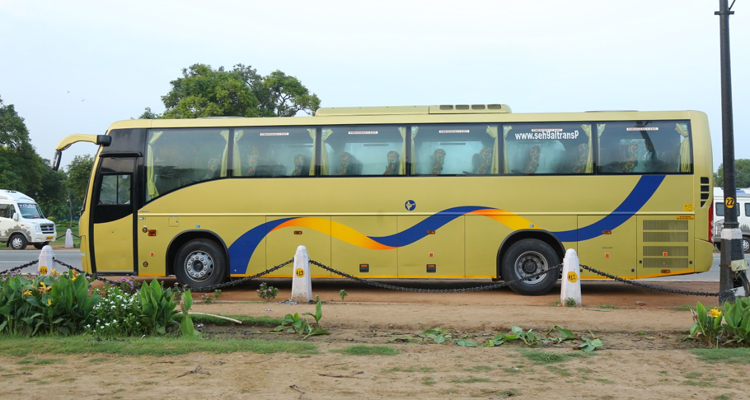 Volvo 41 Seater with washroom Luxury  coach hire in Delhi